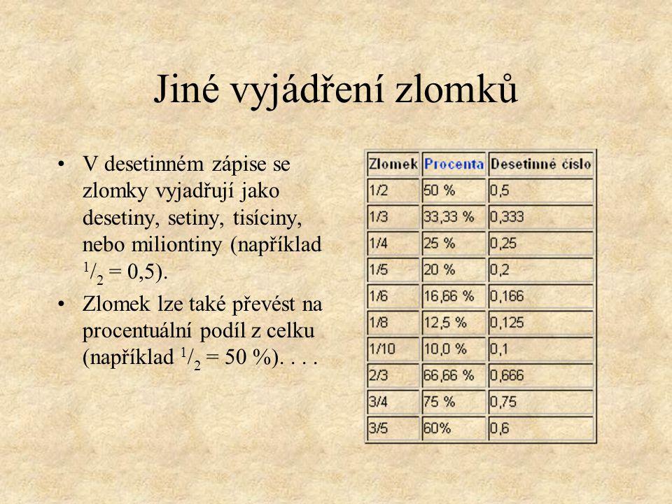 Jiné vyjádření zlomků V desetinném zápise se zlomky vyjadřují jako desetiny, setiny, tisíciny, nebo miliontiny (například 1/2 1/2 = 0,5). Zlomek lze t