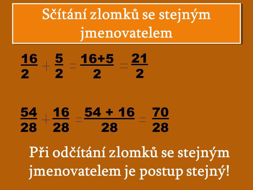 Sčítání zlomků se stejným jmenovatelem 16 2 5252 16+5 2 21 2 54 28 16 28 54 + 16 28 70 28 Při odčítání zlomků se stejným jmenovatelem je postup stejný