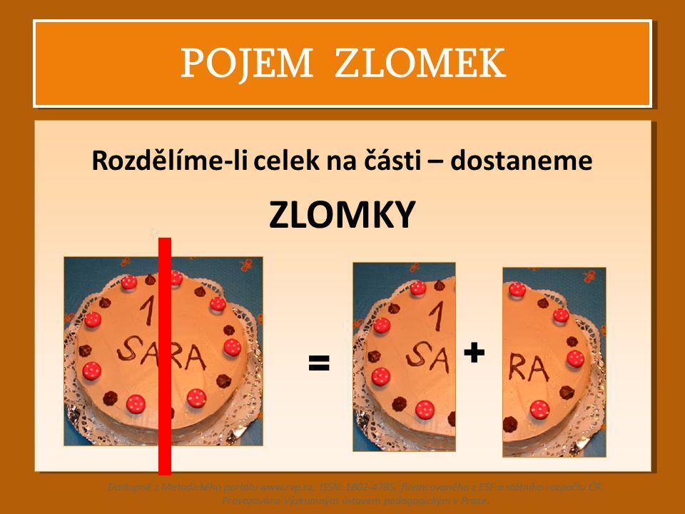 POJEM ZLOMEK Rozdělíme-li celek na části – dostaneme ZLOMKY Rozdělíme-li celek na části – dostaneme ZLOMKY Dostupné z Metodického portálu www.rvp.cz,