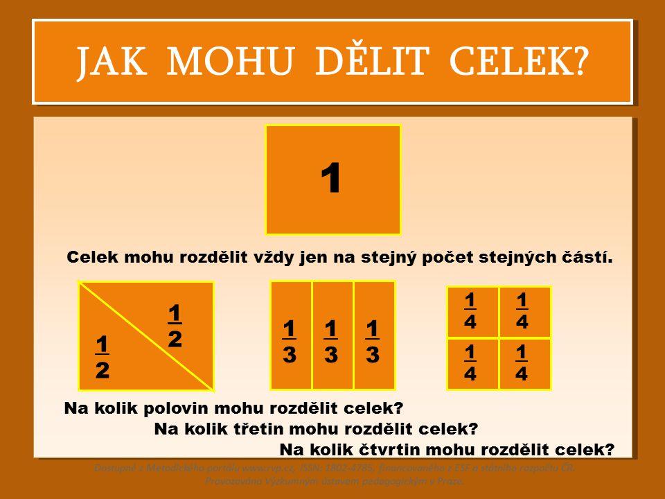 JAK MOHU DĚLIT CELEK? 1 2 1 1 2 Celek mohu rozdělit vždy jen na stejný počet stejných částí. 1 3 1 3 1 3 1 4 1 4 1 4 1 4 Na kolik polovin mohu rozděli
