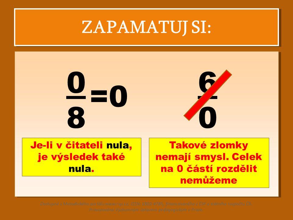 ZAPAMATUJ SI: 0 8 6 0 Je-li v čitateli nula, je výsledek také nula. Dostupné z Metodického portálu www.rvp.cz, ISSN: 1802-4785, financovaného z ESF a