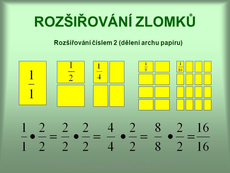 ROZŠIŘOVÁNÍ ZLOMKŮ Rozšiřování číslem 2 (dělení archu papíru) Dostupné z Metodického portálu www.rvp.cz, ISSN: 1802-4785, financovaného z ESF a státního rozpočtu ČR.