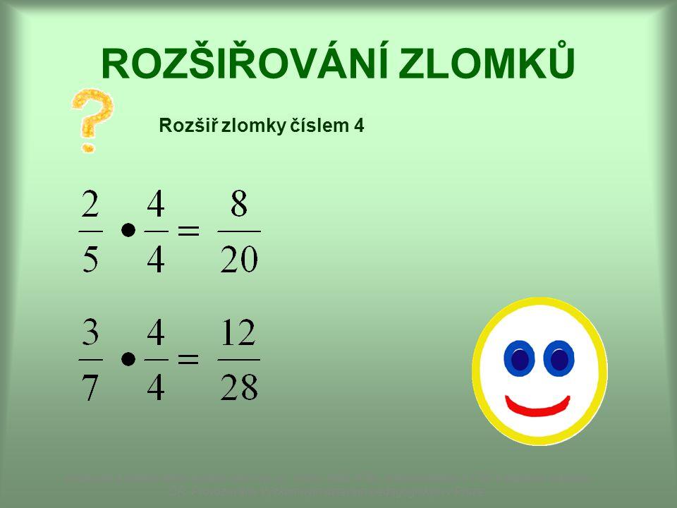 ROZŠIŘOVÁNÍ ZLOMKŮ Rozšiř zlomky číslem 4 Dostupné z Metodického portálu www.rvp.cz, ISSN: 1802-4785, financovaného z ESF a státního rozpočtu ČR.