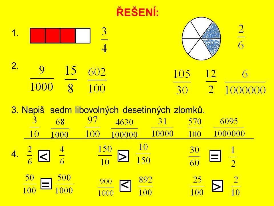 ŘEŠENÍ: 1. 2. 3.Napiš sedm libovolných desetinných zlomků. 4. < < > = = > ______________________________________________________