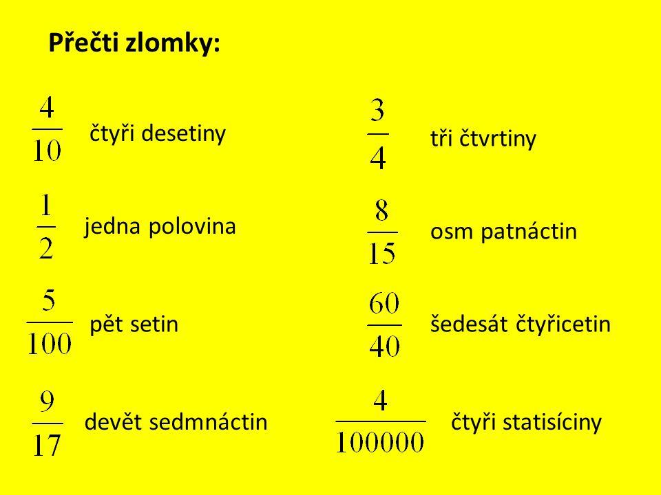 Zapiš pomocí zlomků: dvě poloviny šestnáct tisícin dvacet čtyři jedenáctin sedm osmin čtyři sta patnáctin tři dvacetiny sedmnáct devítin pět miliontin