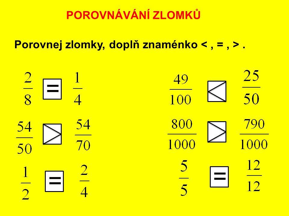 POROVNÁVÁNÍ ZLOMKŮ Porovnej zlomky, doplň znaménko. = = =