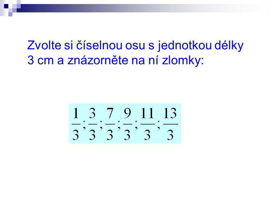 Zvolte si číselnou osu s jednotkou délky 3 cm a znázorněte na ní zlomky: