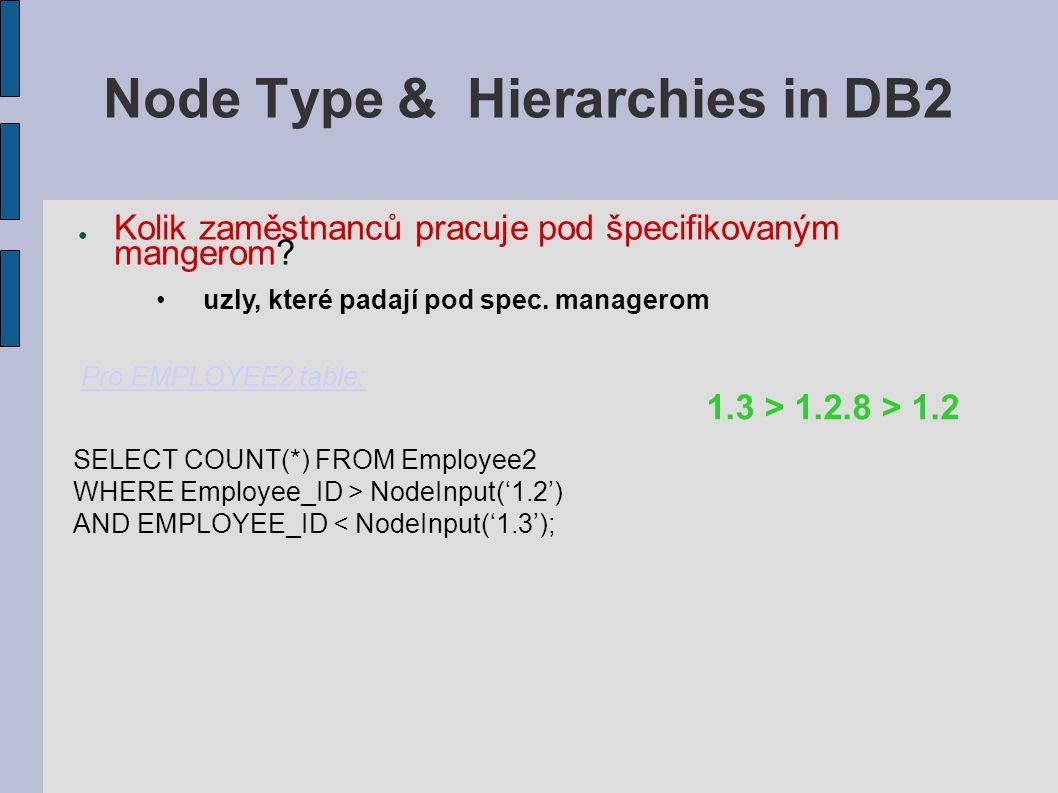 Node Type & Hierarchies in DB2 ● Kolik zaměstnanců pracuje pod špecifikovaným mangerom.