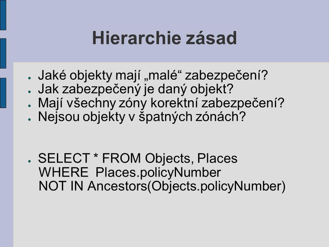 """Hierarchie zásad ● Jaké objekty mají """"malé zabezpečení."""