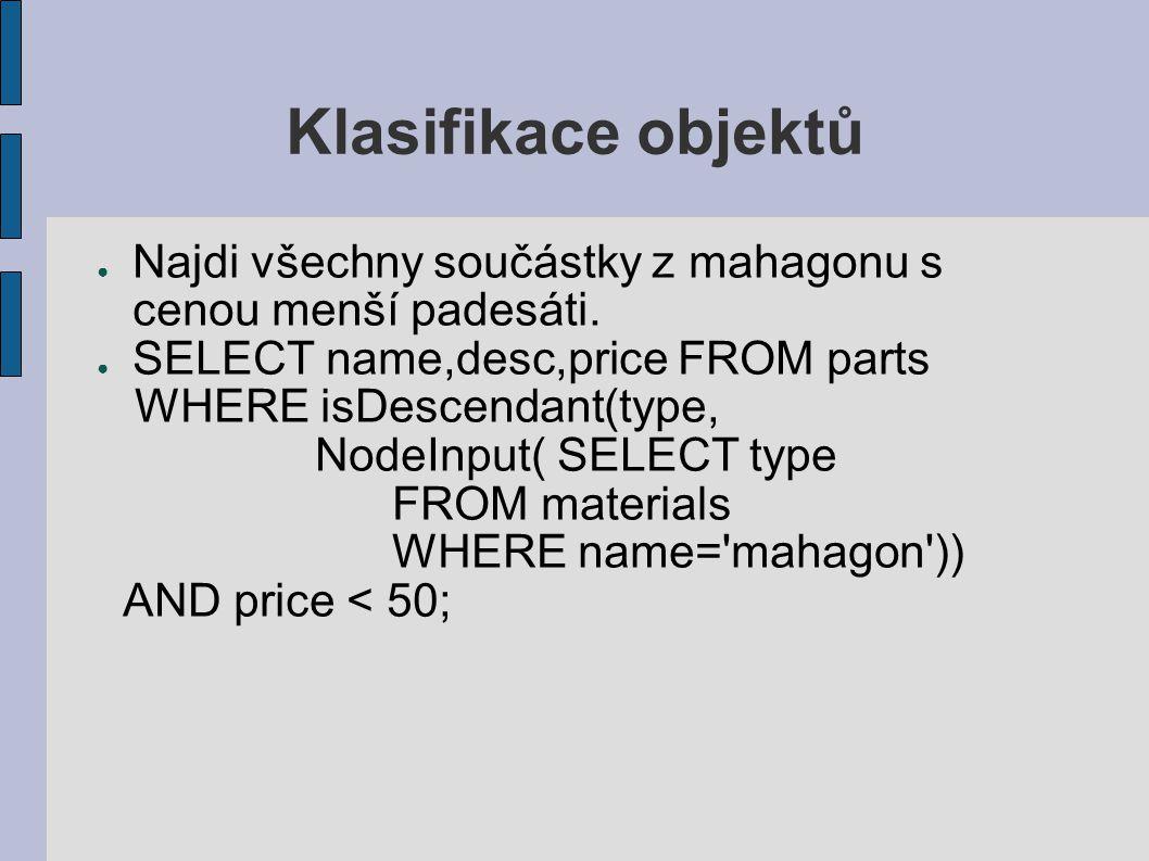 Klasifikace objektů ● Najdi všechny součástky z mahagonu s cenou menší padesáti.
