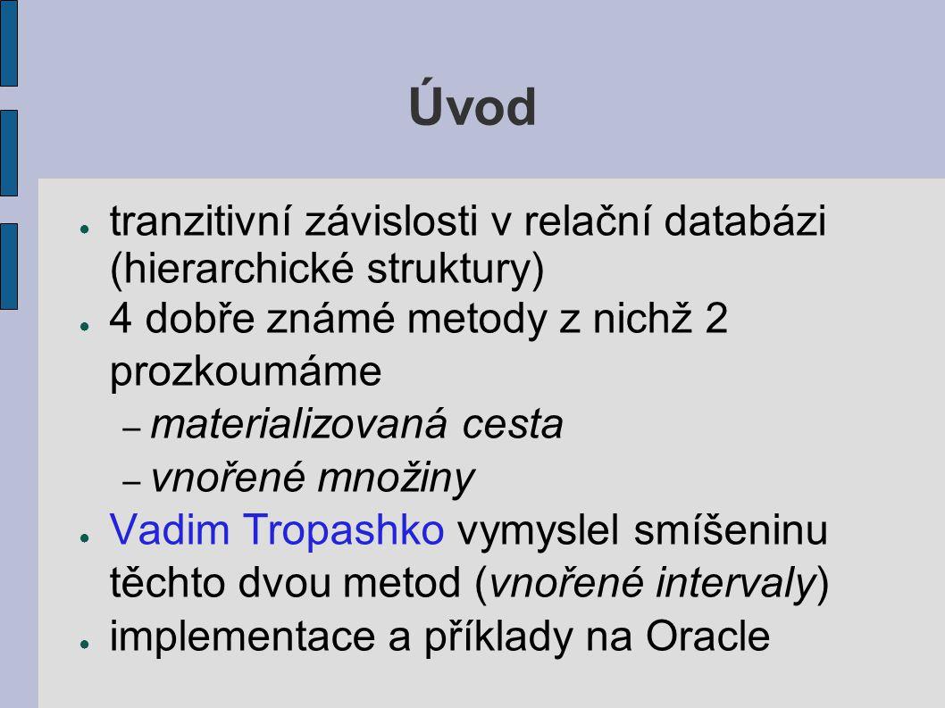 Úvod ● tranzitivní závislosti v relační databázi (hierarchické struktury) ● 4 dobře známé metody z nichž 2 prozkoumáme – materializovaná cesta – vnořené množiny ● Vadim Tropashko vymyslel smíšeninu těchto dvou metod (vnořené intervaly) ● implementace a příklady na Oracle