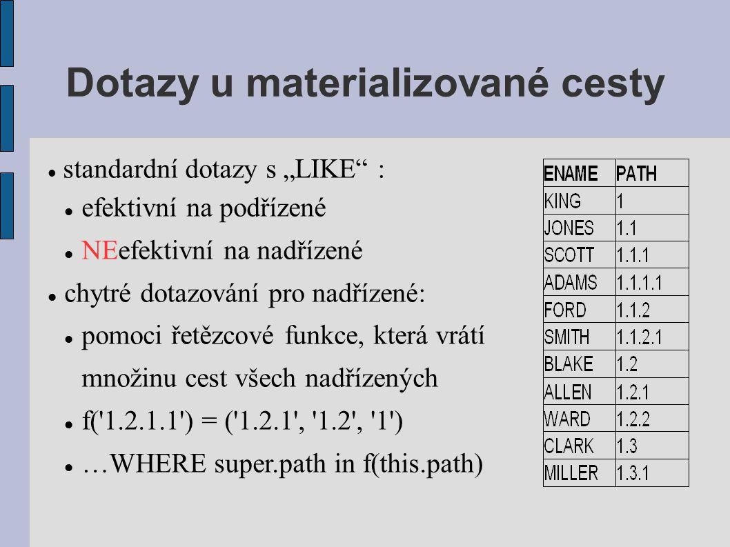 """Dotazy u materializované cesty standardní dotazy s """"LIKE : efektivní na podřízené NEefektivní na nadřízené chytré dotazování pro nadřízené: pomoci řetězcové funkce, která vrátí množinu cest všech nadřízených f( 1.2.1.1 ) = ( 1.2.1 , 1.2 , 1 ) …WHERE super.path in f(this.path)"""