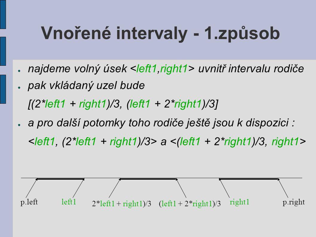 Vnořené intervaly - 1.způsob ● najdeme volný úsek uvnitř intervalu rodiče ● pak vkládaný uzel bude [(2*left1 + right1)/3, (left1 + 2*right1)/3] ● a pro další potomky toho rodiče ještě jsou k dispozici : a p.leftleft1 2*left1 + right1)/3(left1 + 2*right1)/3 right1p.right
