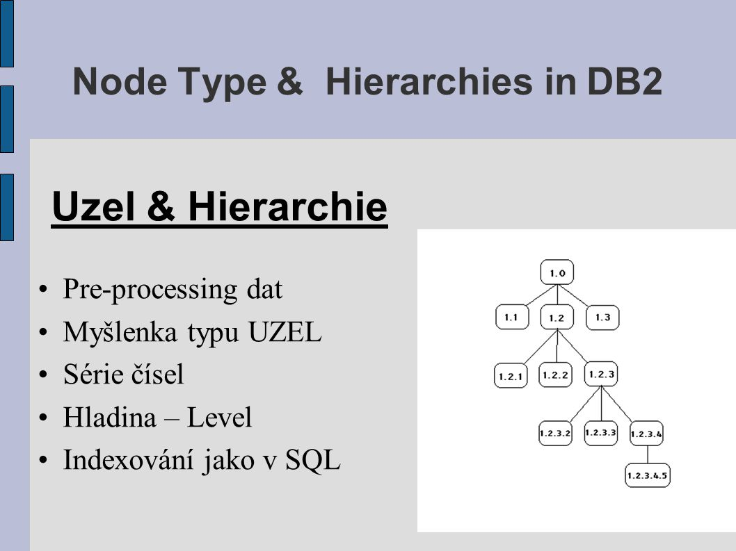 Node Type & Hierarchies in DB2 Hlavní výnos Obrovské tabulky  rýchlá odezva Rozumné dotazy  nezávislost na # požadavků