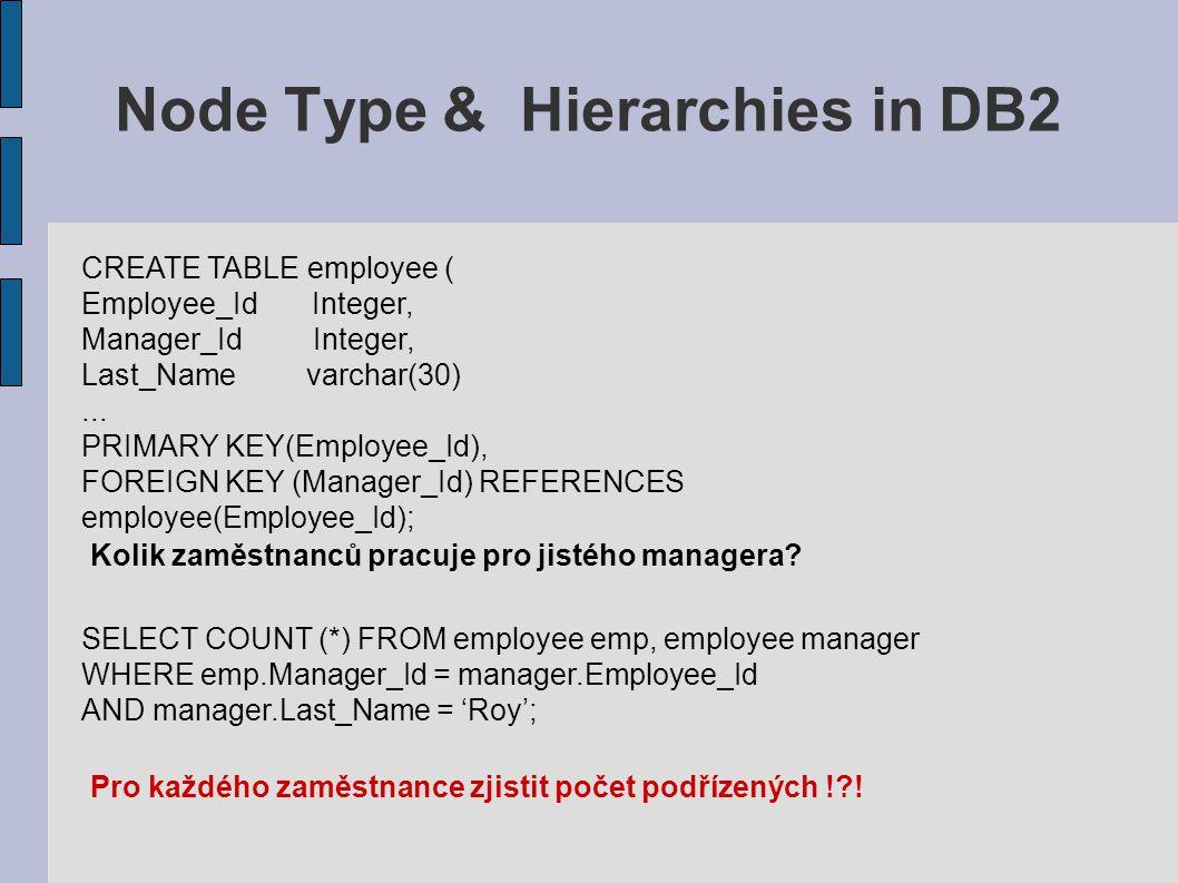 Node Type & Hierarchies in DB2 ● Vícenásobné levely v managmentu ● SQL příkaz pro každý manager pro každý level ● Víckrát vnořovat Problém CREATE TABLE employee2 ( Employee_Id Node, Last_Name varchar(30),...