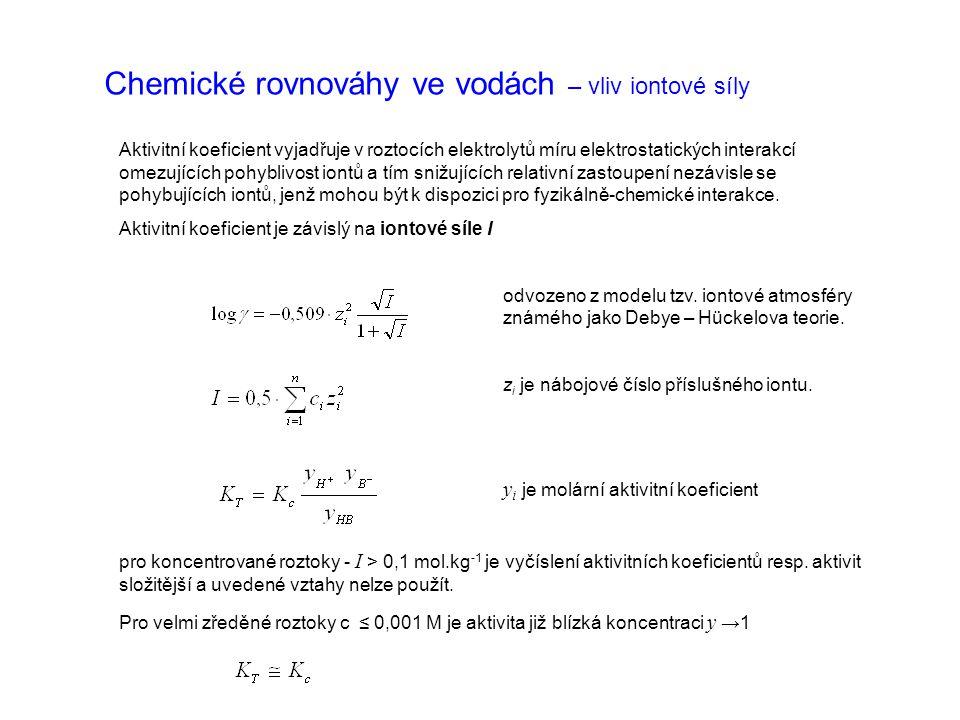 Chemické rovnováhy ve vodách – vliv iontové síly Aktivitní koeficient vyjadřuje v roztocích elektrolytů míru elektrostatických interakcí omezujících p