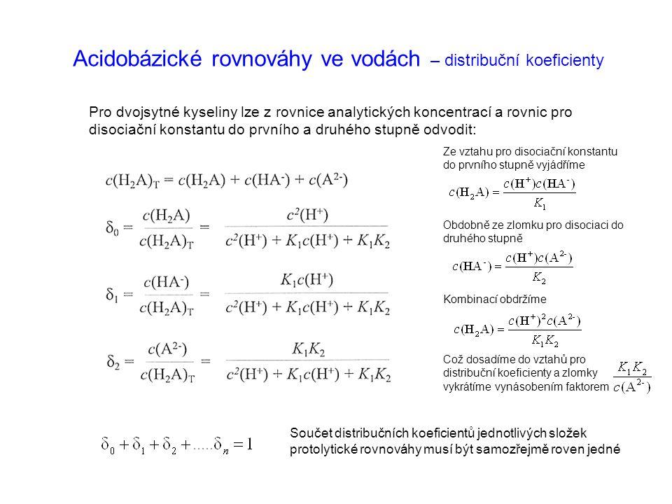 Acidobázické rovnováhy ve vodách – distribuční koeficienty Pro dvojsytné kyseliny lze z rovnice analytických koncentrací a rovnic pro disociační konst