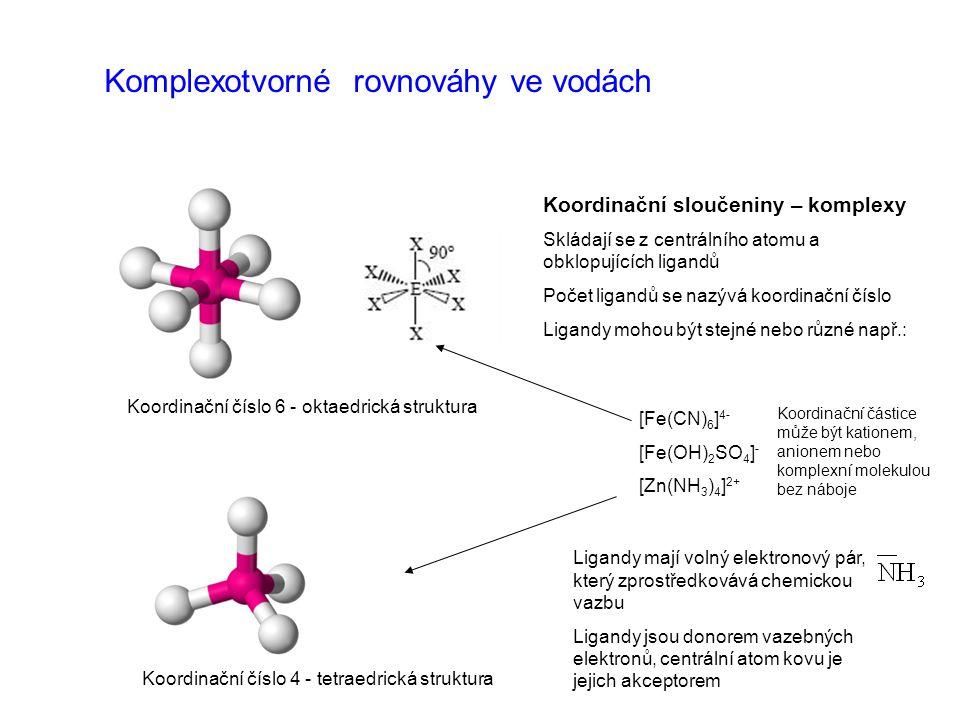 Komplexotvorné rovnováhy ve vodách Koordinační sloučeniny – komplexy Skládají se z centrálního atomu a obklopujících ligandů Počet ligandů se nazývá k