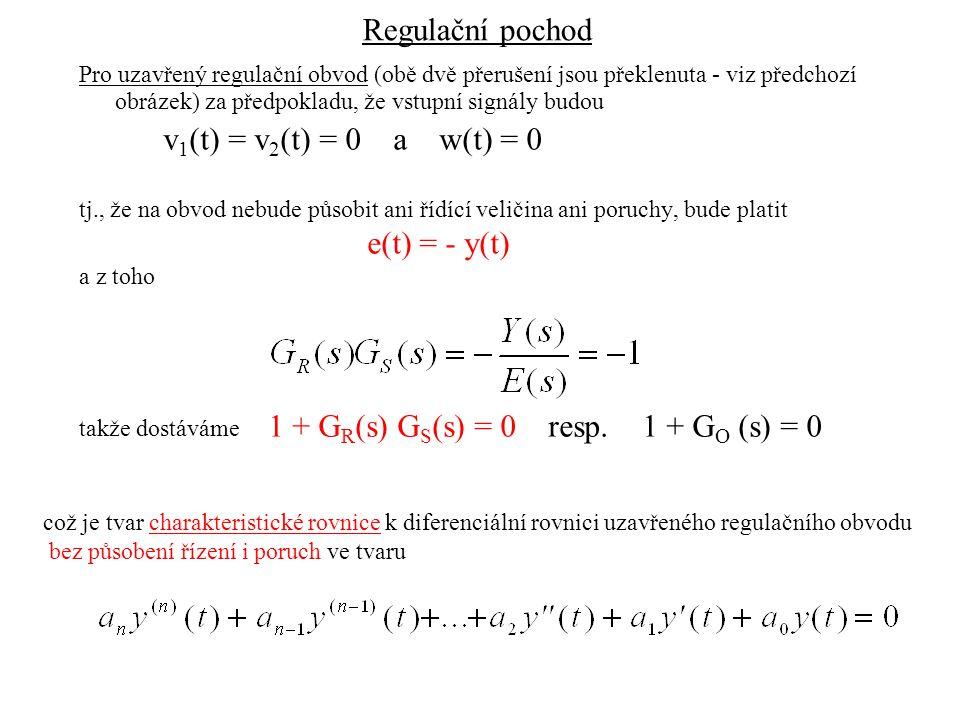 Regulační obvod uzavřený s W(t) a V(t) Uvažujeme-li uzavřený regulační obvod u kterého nejsou w(t) a v(t) nulové a pro jednoduchost uvažujeme, že regulační obvod má pouze jednu poruchovou veličinu, tj.