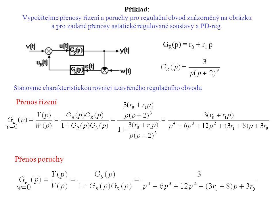 Příklad: Vypočítejme přenosy řízení a poruchy pro regulační obvod znázorněný na obrázku a pro zadané přenosy astatické regulované soustavy a PD-reg. G