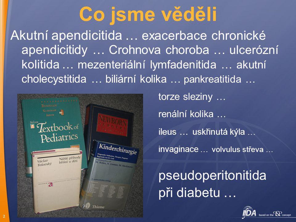 2 Co jsme věděli Akutní apendicitida … exacerbace chronické apendicitidy … Crohnova choroba … ulcerózní kolitida … mezenteriální lymfadenitida … akutní cholecystitida … biliární kolika … pankreatitida … torze sleziny … renální kolika … ileus … uskřinutá kýla … invaginace … volvulus střeva … pseudoperitonitida při diabetu …