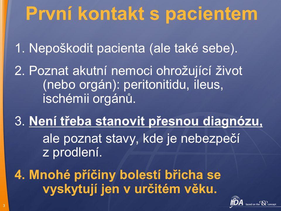 3 První kontakt s pacientem 1.Nepoškodit pacienta (ale také sebe).