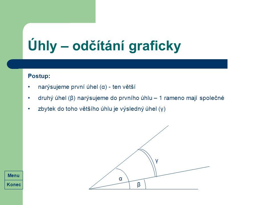 Úhly – odčítání graficky Postup: narýsujeme první úhel (α) - ten větší druhý úhel (β) narýsujeme do prvního úhlu – 1 rameno mají společné zbytek do to