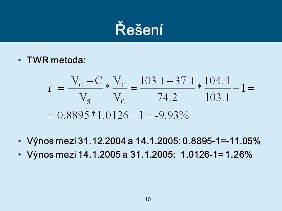 10 Řešení TWR metoda: Výnos mezi 31.12.2004 a 14.1.2005: 0.8895-1=-11.05% Výnos mezi 14.1.2005 a 31.1.2005: 1.0126-1= 1.26%