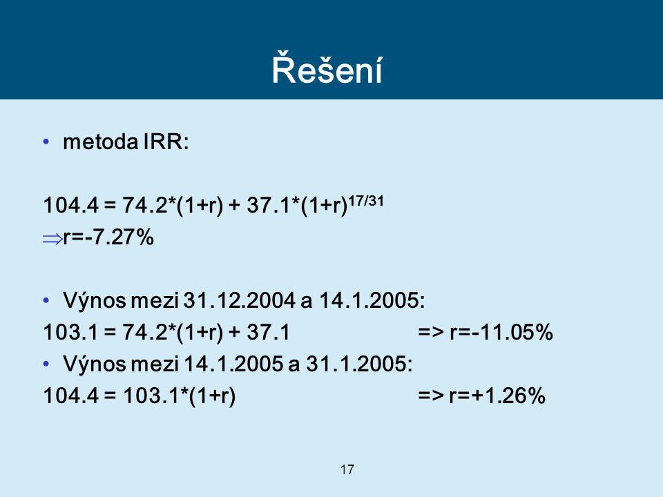 17 Řešení metoda IRR: 104.4 = 74.2*(1+r) + 37.1*(1+r) 17/31  r=-7.27% Výnos mezi 31.12.2004 a 14.1.2005: 103.1 = 74.2*(1+r) + 37.1 => r=-11.05% Výnos mezi 14.1.2005 a 31.1.2005: 104.4 = 103.1*(1+r) => r=+1.26%