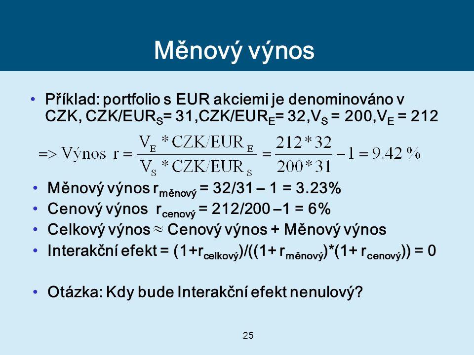 25 Měnový výnos Příklad: portfolio s EUR akciemi je denominováno v CZK, CZK/EUR S = 31,CZK/EUR E = 32,V S = 200,V E = 212 Měnový výnos r měnový = 32/31 – 1 = 3.23% Cenový výnos r cenový = 212/200 –1 = 6% Celkový výnos Cenový výnos + Měnový výnos Interakční efekt = (1+r celkový )/((1+ r měnový )*(1+ r cenový )) = 0 Otázka: Kdy bude Interakční efekt nenulový?