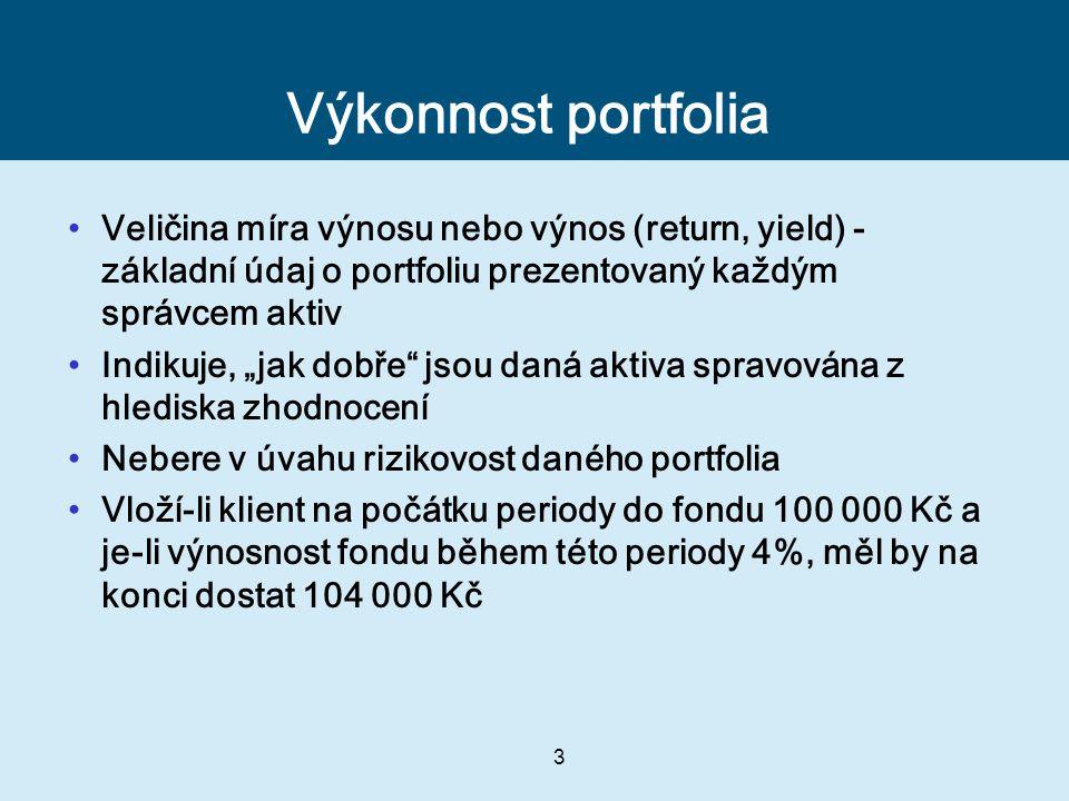 """3 Výkonnost portfolia Veličina míra výnosu nebo výnos (return, yield) - základní údaj o portfoliu prezentovaný každým správcem aktiv Indikuje, """"jak do"""