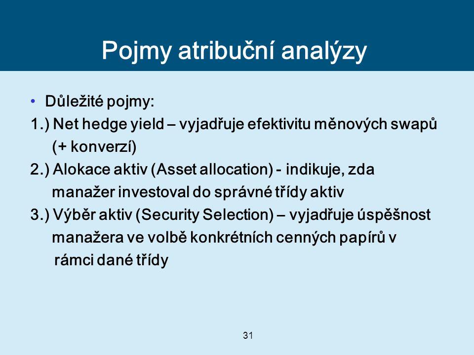 31 Pojmy atribuční analýzy Důležité pojmy: 1.) Net hedge yield – vyjadřuje efektivitu měnových swapů (+ konverzí) 2.) Alokace aktiv (Asset allocation) - indikuje, zda manažer investoval do správné třídy aktiv 3.) Výběr aktiv (Security Selection) – vyjadřuje úspěšnost manažera ve volbě konkrétních cenných papírů v rámci dané třídy