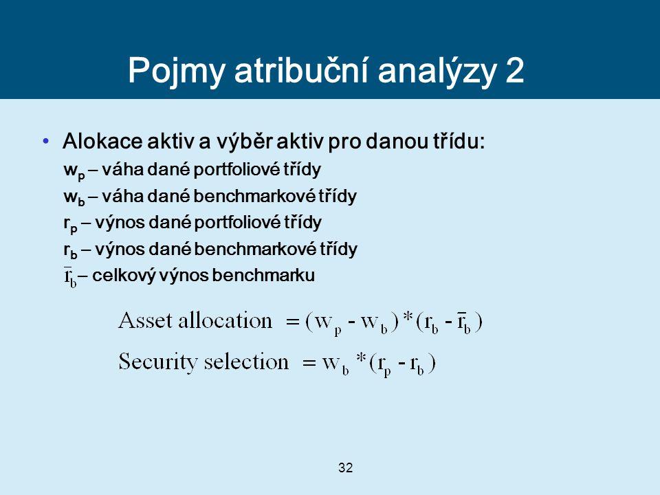 32 Pojmy atribuční analýzy 2 Alokace aktiv a výběr aktiv pro danou třídu: w p – váha dané portfoliové třídy w b – váha dané benchmarkové třídy r p – výnos dané portfoliové třídy r b – výnos dané benchmarkové třídy – celkový výnos benchmarku