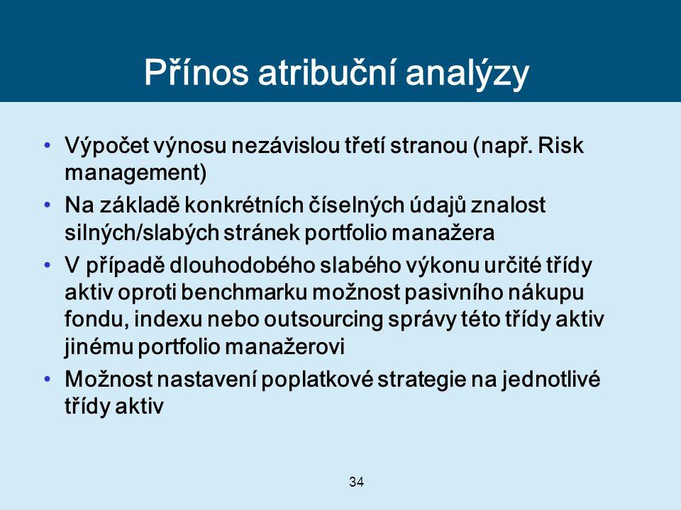 34 Přínos atribuční analýzy Výpočet výnosu nezávislou třetí stranou (např. Risk management) Na základě konkrétních číselných údajů znalost silných/sla