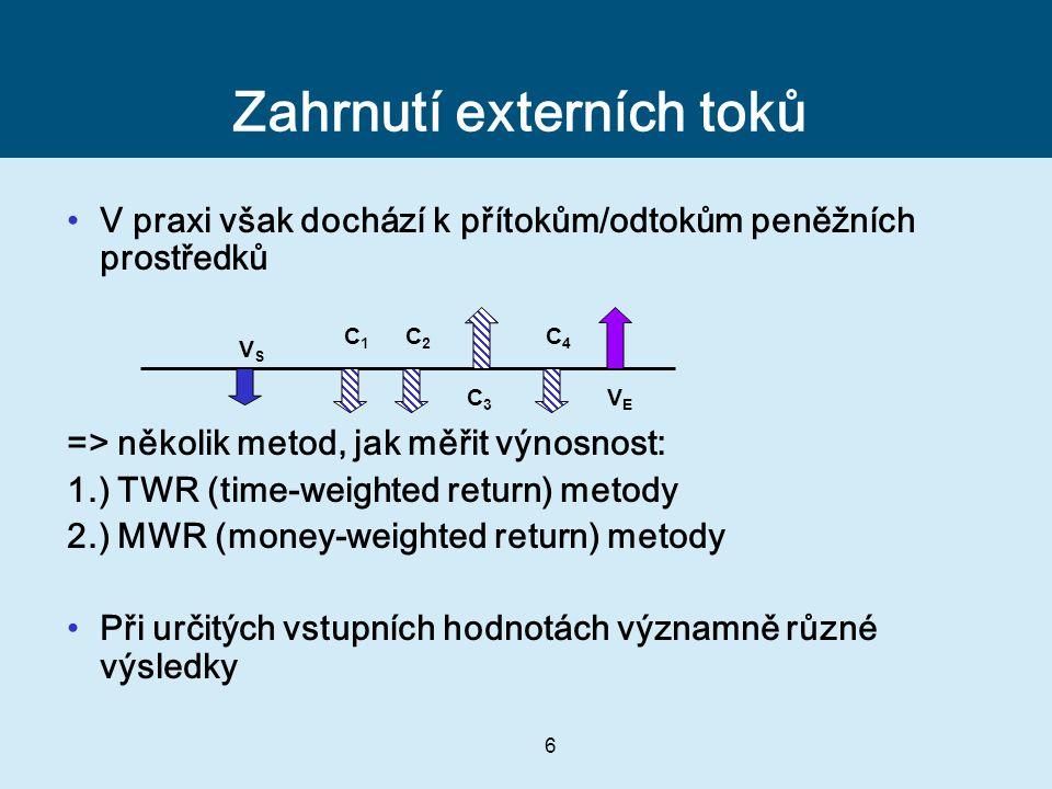 6 Zahrnutí externích toků V praxi však dochází k přítokům/odtokům peněžních prostředků => několik metod, jak měřit výnosnost: 1.) TWR (time-weighted return) metody 2.) MWR (money-weighted return) metody Při určitých vstupních hodnotách významně různé výsledky VSVS VEVE C1C1 C2C2 C3C3 C4C4