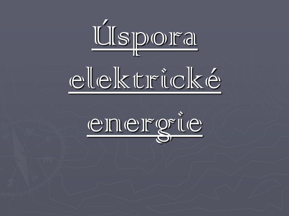 Energie  Spotřeba energie v domě: vytápění 70% ohřev vody 20% domácnost 10% Spotřeba energie v domácnosti: lednička 30% pračka 17% vaření 16% osvětlení 15% ostatní menší zdroje zbytek Nejdůležitější je tedy zvolit správný typ vytápění domu, zateplit stěny atd., vybrat vhodný typ ohřevu vody a teprve pak řešit případné drobnosti jako úsporné žárovky atd.