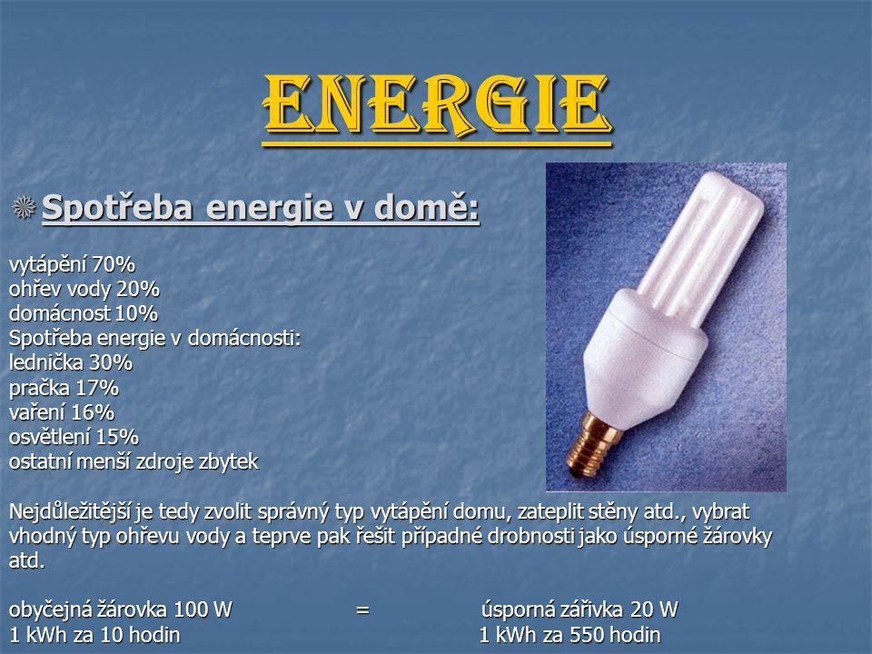 Energie  Spotřeba energie v domě: vytápění 70% ohřev vody 20% domácnost 10% Spotřeba energie v domácnosti: lednička 30% pračka 17% vaření 16% osvětle