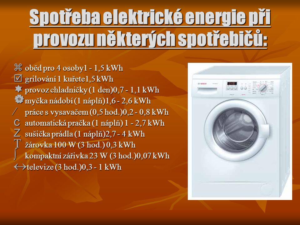 Spotřeba elektrické energie při provozu některých spotřebičů:  oběd pro 4 osoby1 - 1,5 kWh  grilování 1 kuřete1,5 kWh  provoz chladničky (1 den)0,7