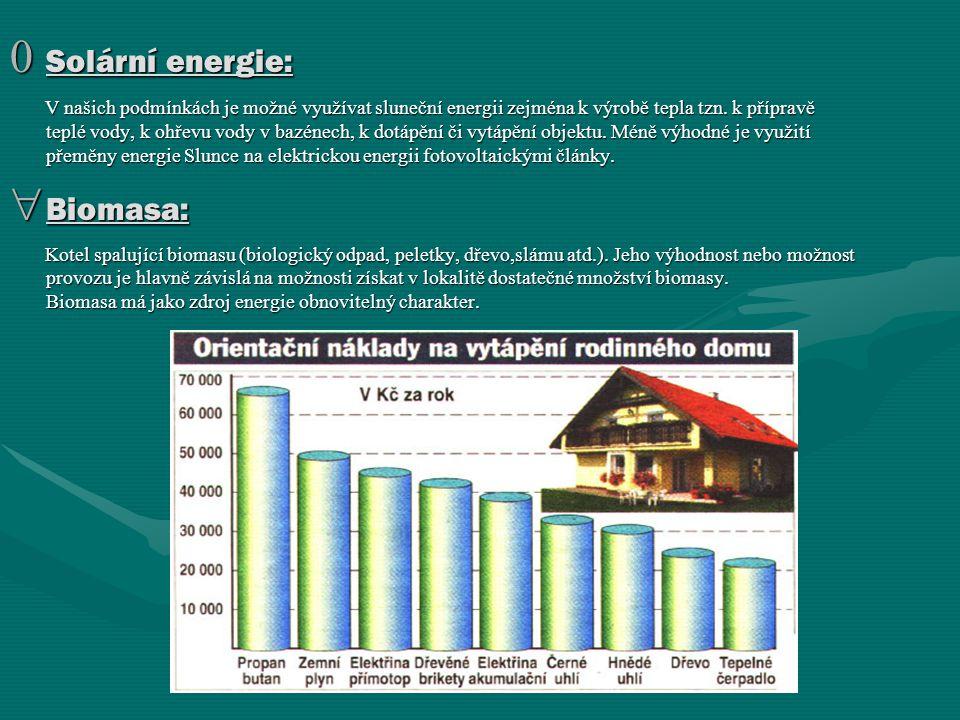 0 Solární energie: V našich podmínkách je možné využívat sluneční energii zejména k výrobě tepla tzn. k přípravě teplé vody, k ohřevu vody v bazénech,