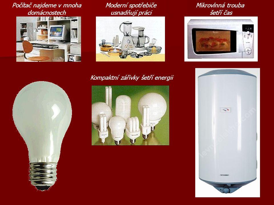 Počítač najdeme v mnoha domácnostech Moderní spotřebiče usnadňují práci Mikrovlnná trouba šetří čas Kompaktní zářivky šetří energii
