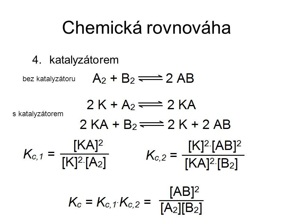 Chemická rovnováha 4.katalyzátorem bez katalyzátoru s katalyzátorem