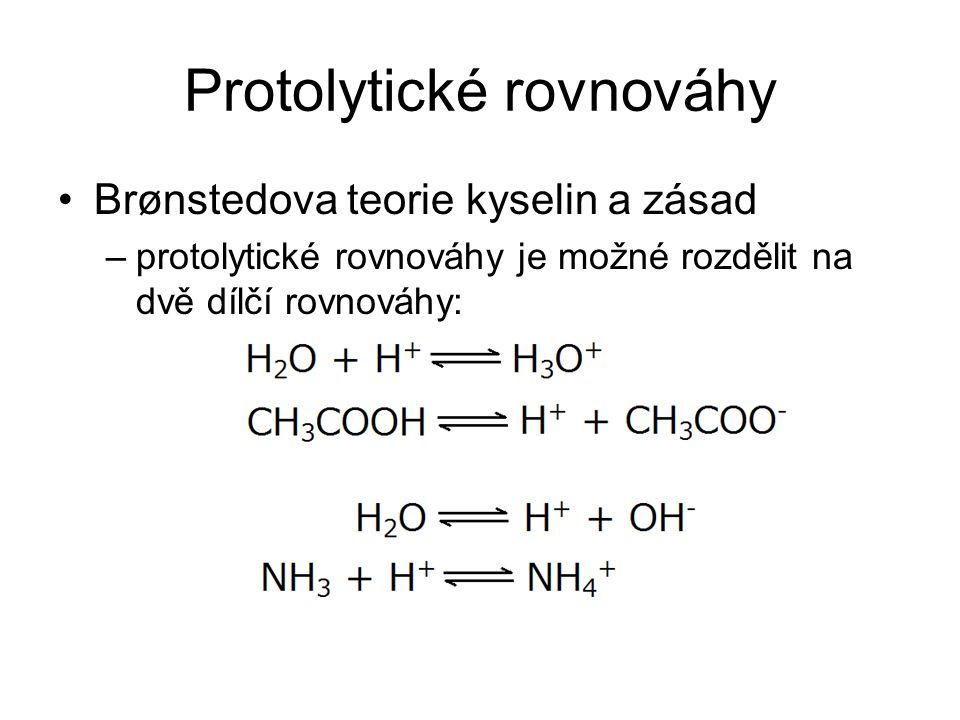 Protolytické rovnováhy Brønstedova teorie kyselin a zásad –protolytické rovnováhy je možné rozdělit na dvě dílčí rovnováhy: