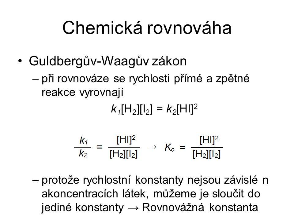 Chemická rovnováha Guldbergův-Waagův zákon –při rovnováze se rychlosti přímé a zpětné reakce vyrovnají k 1 [H 2 ][I 2 ] = k 2 [HI] 2 –protože rychlost