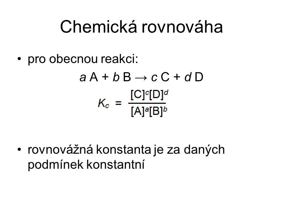Protolytické rovnováhy –u silných jednosytných kyselin koncentrace kyseliny odpovídá koncentraci oxoniových kationtů H 3 O + –příklad 2 – roztok silné kyseliny Jaké je pH roztoku kyselny chlorovodíkové o koncentraci 10 -4 mol/l.