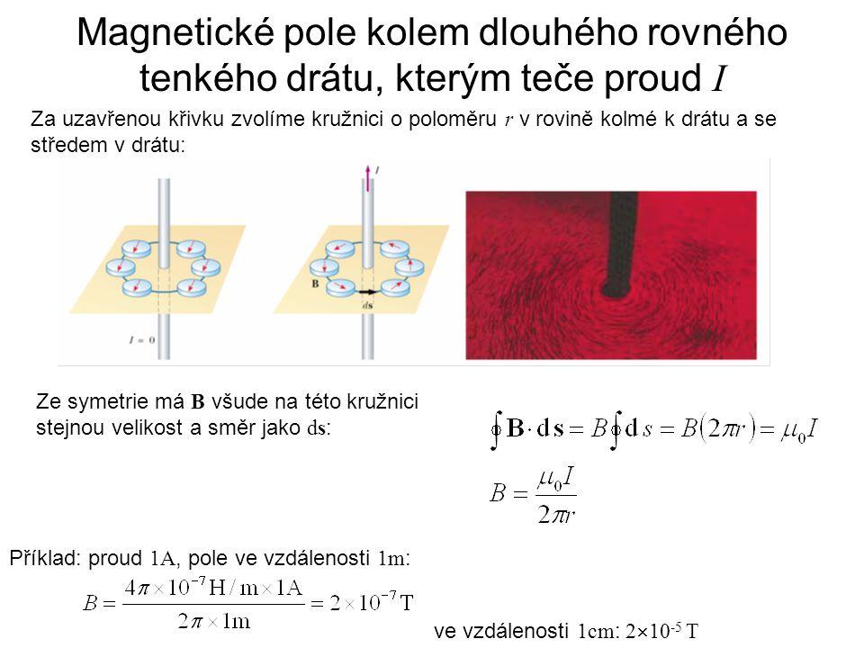Magnetické pole kolem dlouhého rovného tenkého drátu, kterým teče proud I Příklad: proud 1A, pole ve vzdálenosti 1m : ve vzdálenosti 1cm : 2  10 -5 T Za uzavřenou křivku zvolíme kružnici o poloměru r v rovině kolmé k drátu a se středem v drátu: Ze symetrie má B všude na této kružnici stejnou velikost a směr jako ds :