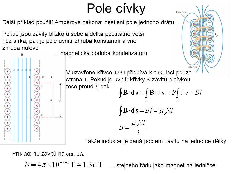Další příklad použití Ampèrova zákona; zesílení pole jednoho drátu …magnetická obdoba kondenzátoru Pokud jsou závity blízko u sebe a délka podstatně větší než šířka, pak je pole uvnitř zhruba konstantní a vně zhruba nulové Pole cívky Příklad: 10 závitů na cm, 1A …stejného řádu jako magnet na ledničce V uzavřené křivce 1234 přispívá k cirkulaci pouze strana 1.