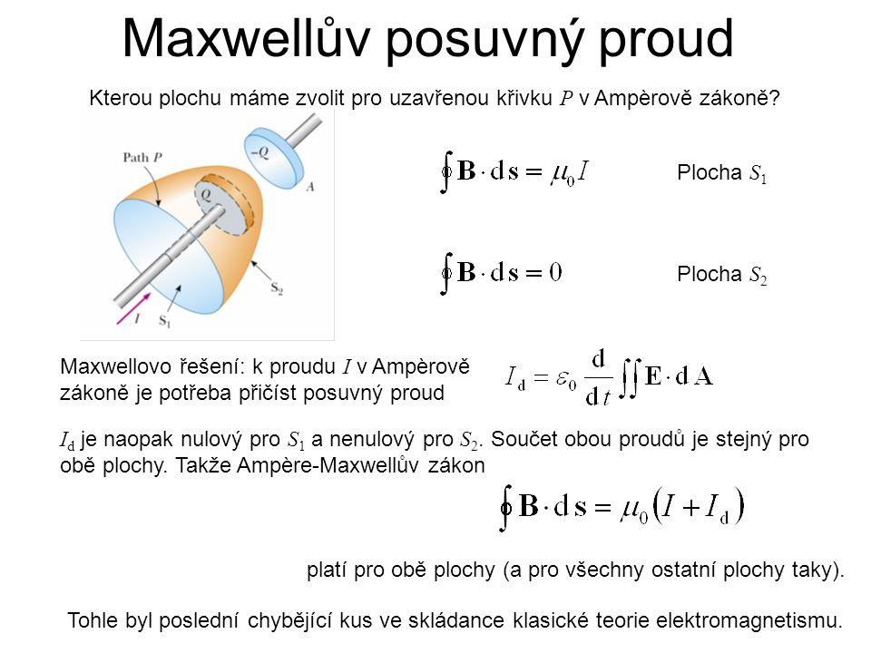 Maxwellův posuvný proud Maxwellovo řešení: k proudu I v Ampèrově zákoně je potřeba přičíst posuvný proud Kterou plochu máme zvolit pro uzavřenou křivku P v Ampèrově zákoně.
