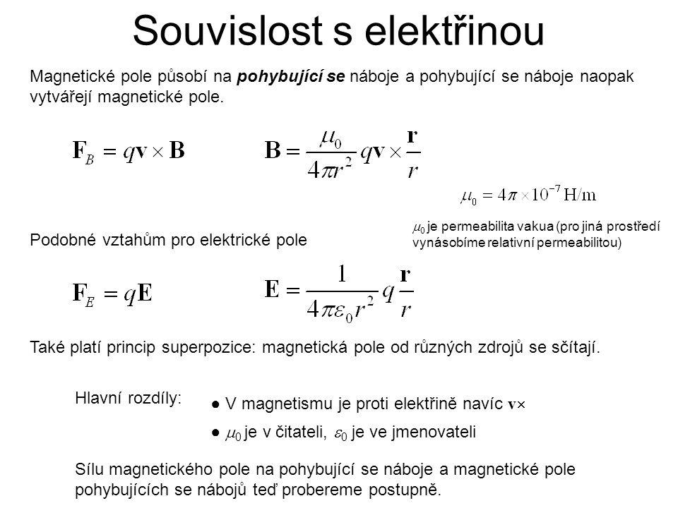 Souvislost s elektřinou Magnetické pole působí na pohybující se náboje a pohybující se náboje naopak vytvářejí magnetické pole. Podobné vztahům pro el