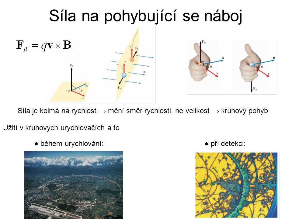 Síla na pohybující se náboj Síla je kolmá na rychlost  mění směr rychlosti, ne velikost  kruhový pohyb Užití v kruhových urychlovačích a to ● při detekci:● během urychlování: