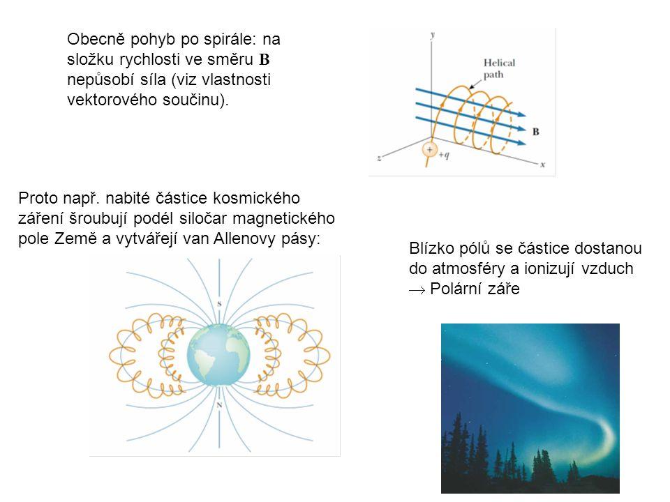 Obecně pohyb po spirále: na složku rychlosti ve směru B nepůsobí síla (viz vlastnosti vektorového součinu). Proto např. nabité částice kosmického záře